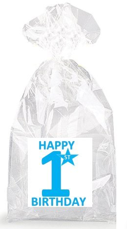 Boys Blue Happy 1st Birthday Party Favor Bags with Ties - 12pack