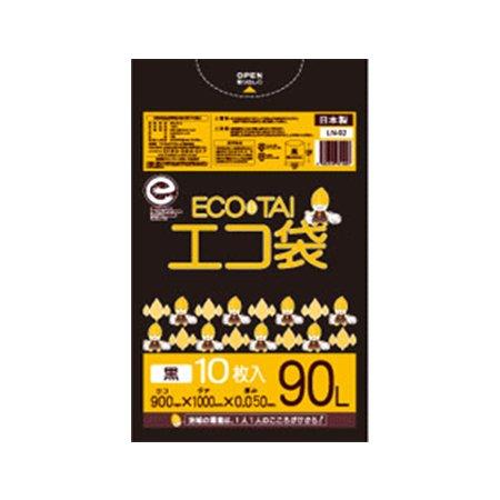 サンキョウプラテック エコ袋 90L 0.050厚 黒 10枚入×25冊 LN-97 B077Z2Q8SK 厚さ0.050mm|ブラック ブラック 厚さ0.050mm