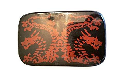 RARE Vintage Black Bakelite Embossed with Oriental Red Dragons Belt Buckle