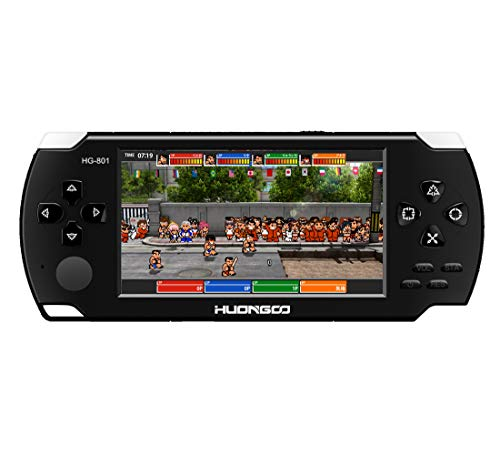 HuonGoo Handheld Game Console, Handheld Video Game 4.3 inch Screen 368 Classic Games,Retro Game Console Can Play on TV, Good Gifts for Kids to Adult. (Black) by HuonGoo (Image #1)