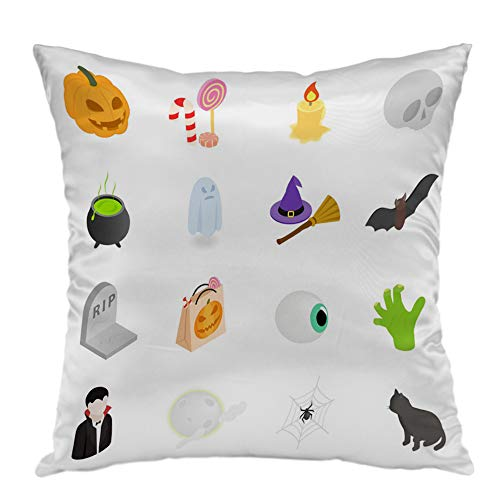 oFloral Pillow Covers Cases Halloween Isometric 3D Icons Pillowcase Decorative Square Cushion Cover for Home Decor 16x16 inch for $<!--$7.99-->