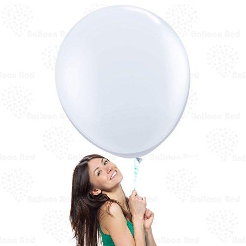 36 Inch Giant Jumbo Latex Balloons (Premium Helium Quality), Pack of 6, Regular Shape - White