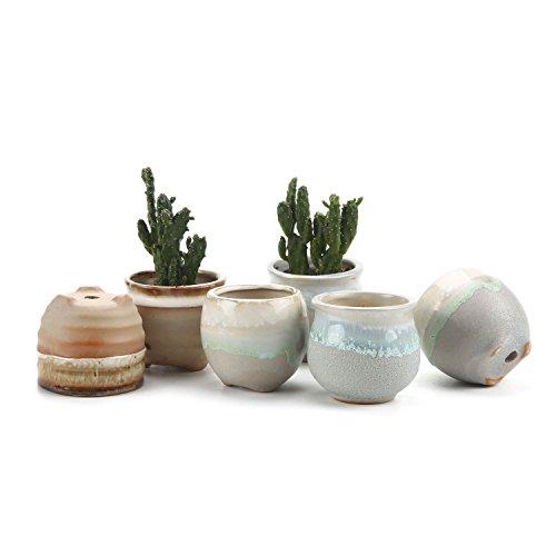 T4U 2.5 Inch Ceramic Flowing glaze solid Gray Base Serial (3 Shape) Set succulent Plant Pot/Cactus Plant Pot Flower Pot/Container/Planter Package 1 Pack of 6