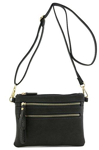 Multi Zipper Pocket Small Wristlet Crossbody Bag (Charcoal Grey)