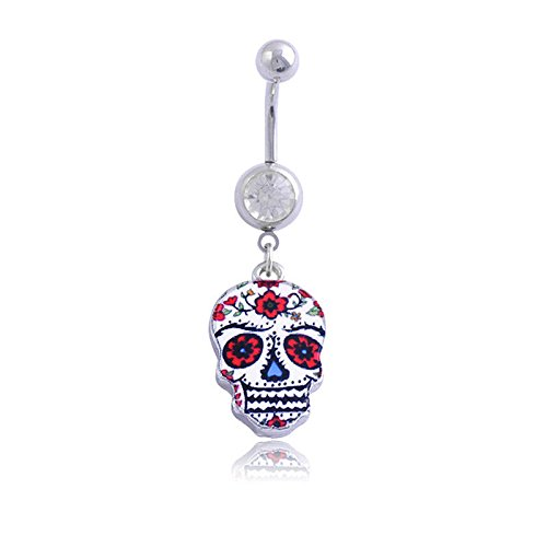 Creative Painted Skull Navel Belly Button Ring Bar Body Piercing Dangle Ring EV