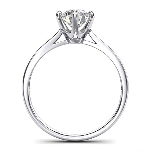 Pure 14k white gold 2.0 CT Classic 6-Prong Solitaire Simulated Diamond Engagement Ring Promise Bridal Wedding Ring (6)