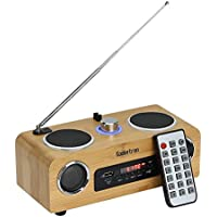 Koolertron Eco-friendly Hand-made Light Weight Mini Portable Bamboo Wood Boombox Card Speaker with Radio Function +Remote Control + Usb Cable (7.9*4.6*4.1inch)