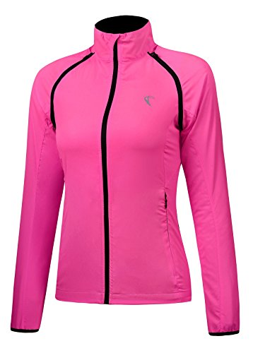 J.CARP Convertible Women Cycling Jacket Windproof Water Resistant Softshell Rose Red L