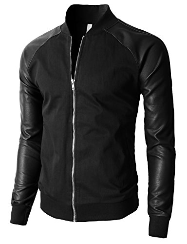 Varsity Leather Wool Jacket - H2H Mens Slim Fit Hoodie Varsity Wool & Synthetic Leather Letterman Jacket BLACK US S/Asia M (KMOJA0138)