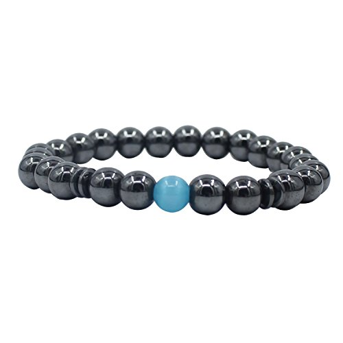 UEUC Hematite Magnetic Therapy Bracelet Precious Natural Stones Healing with Strong Elastic for ()