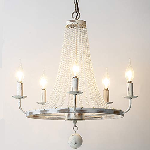 - TopDeng E12 Distressed Candle Chandeliers, Vintage American Style Rustic Lighting Fixture Crystal Bead Strands Metal Wheel Ceiling lamp, White-5 Lights 53x47cm