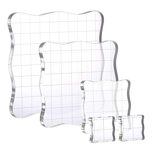 Blocks Clear Stamping Tool Set with Grid Lines for DIY Crafts Making, 5 Pieces and 1 Free Clear Stamp ()