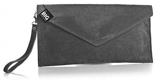 BI_V108 Real Italian Suede Leather Envelope Clutch Bag (Grey)