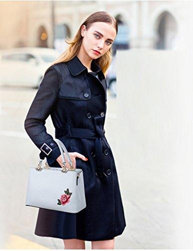 Noir moyen Fleur portés Bleu épaule PU à Sacs Mode Broderie Sac Femme Cuir à Sacs main Cabas Sacs Bandoulière élégante Coolives Ciel Main 1AHw4Rq1g