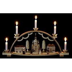 German candle arch Frauenkirche Dresden with historical buildings and figurines, length 47 cm / 19 inch, natural, original Erzgebirge by Mueller Seiffen