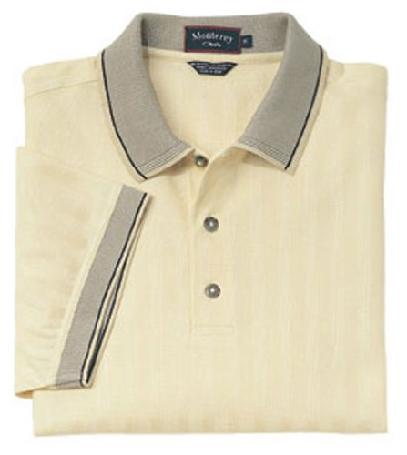 Monterey Club Mens Double Mercerized Short Sleeve Shirt #1019 (Butter, Large)