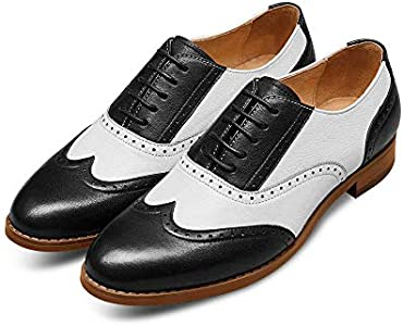 Alipasinm Womens Oxfords Lace up Wingtip Brogue Flats Saddle Dress Formal Wedding Office Shoes for Girls Ladies