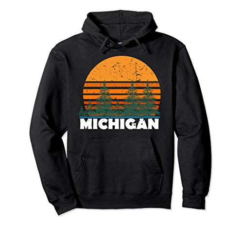 Michigan Hoodie | Vintage Retro Sunset MI State Hood Gift