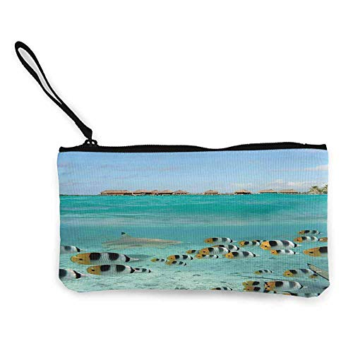 Ocean,Zip Mini Wallet Blacktip Reef Shark Chasing Butterfly Fish Lagoon of Bora Bora Tahiti W 8.5