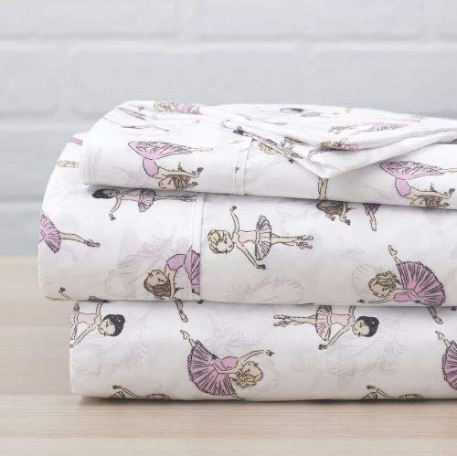 Luxury Linen Collection Full 4 Piece Printed Sheet with 2 Pillowcases Dance Ballerina Design White Pink Kids/Girls/Teens