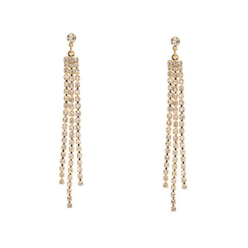Gold Crystal Rhinestone 3 Strands Drop Dangle Earrings