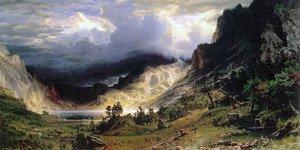 Storm in Rocky mountains-bierstadt – キャンバスまたは印刷壁アート Gallery Wrap - 16x32 Gallery Wrap - 16x32  B00CDED9KO