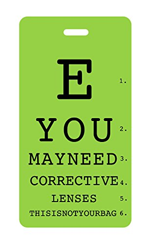 Luggage Tag - E YOU MAY NEED CORRECTIVE - Size Lens Chart
