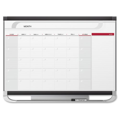 Quartet Prestige Total Erase Dry-Erase One-Month Calendar, 3 x 2 Feet, Graphite Frame (CP32) by Quartet