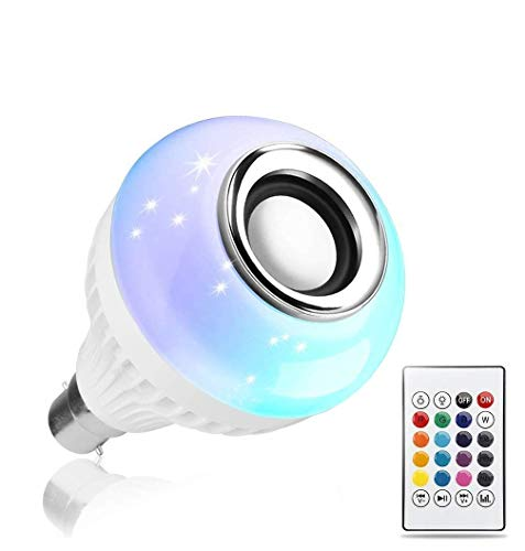 PaxMore LED Music Light Bulb, B22 led Light Bulb with Bluetooth Speaker RGB Self Changing Color Lamp Built-in Audio…