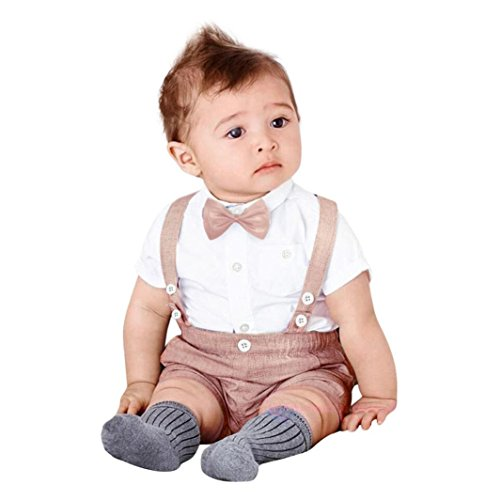 Pants Shirt Bib (Baby Boys Gentleman Outfits Suits, Infant Short Sleeve T-Shirt Tops+Bib Pants+Bow Tie Clothing 3Pcs/Set (Pink, 24 Months))
