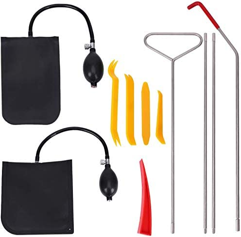 Silkyway Car Tool Kit with Air Wedge Air Pump Bag Long Reach Tools and Non Marring Wedge in a PVC Packing Bag 11pcs