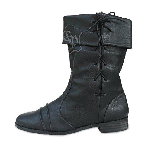 Moyen schuhe Bottes Noir Larp Brigand Cp âge Ritter Chaussures Pirate kiPZuOX