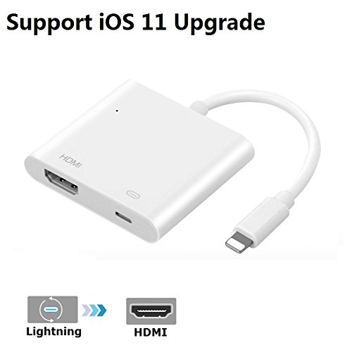 iPhone iPad to HDMI Adapter, Lightning 8-pin to HDMI Female Video Digital AV Adapter with Lightning Charging Port