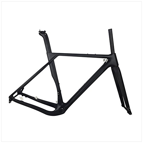Newest Road MTB Gravel Full Carbon Bike Frame, Gravel Carbon Bicycle Frame, Cyclocross Disc Frame With Thru Axle 100/142mm (Matte, 52)