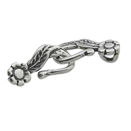 1 Set .925 Sterling Silver Flower Leaf Rose Hook Eye Toggle Bead Clasp 24mm / Findings/Antique from Dreambell