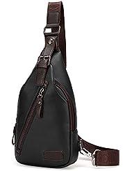 Sling Bag Genuine Leather Crossbody Magnetic Button Shoulder Backpack for man