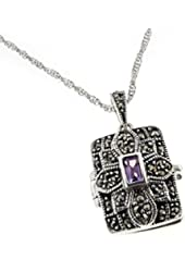 """Rectangular Antiqued Photo Locket Pendant - Genuine Amethyst and Marcasite Sterling Silver with 20"""" Chain Necklace"""