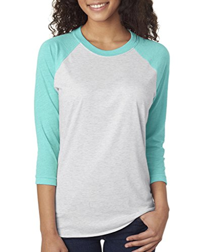 n's Tri-Blend 3/4-Sleeve Raglan Tee Shirt XL Tahiti Blue/White ()