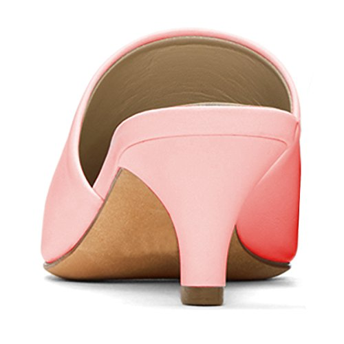 YDN Women Kitten Low Heels Loafers Slip on Mules Pointed Toe Comfort Office Shoes Pink