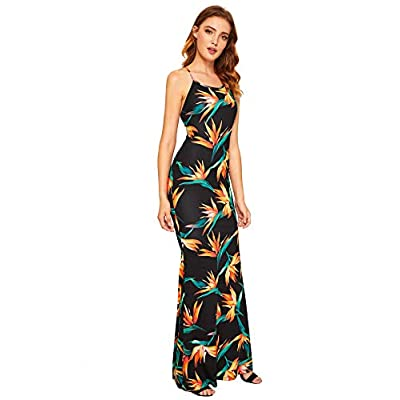 SheIn Women's Strappy Backless Summer Evening Party Maxi Dress at Women's Clothing store