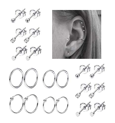 (REVOLIA 20Pcs Stainless Steel Nose Ring Hoop Septum Piercing Cliker Ring Cartilage Stud Earrings Ball CZ Tragus Helix Piercing S)