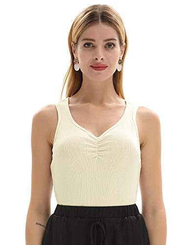 GRACE KARIN Women Sexy Sleeveless Slim Ruched Tanks Top Camisole Cream Size S CL991-3