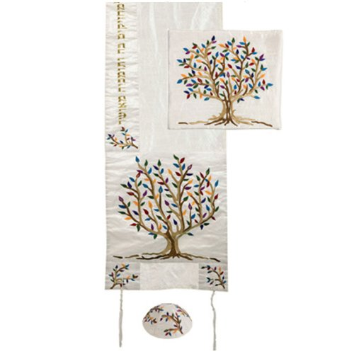 Yair Emanuel Multicolor Tree of Life Design Embroidered Raw Silk White Tallit Set by Yair Emanuel