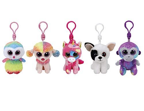 (ReBL LLC TY Stuffed Animals Beanie Boo Clips Keychains Plush Toys Bundle Set Plus ONE Bonus Animal Puzzle Eraser (Zuris Buddies))