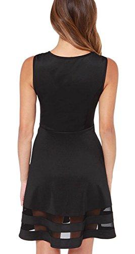 Mini Mujeres Verano Mangas Cóctel Casual Corto Negro DELEY De De Clubwear La Fiesta Vestido Sin De ACqwBt