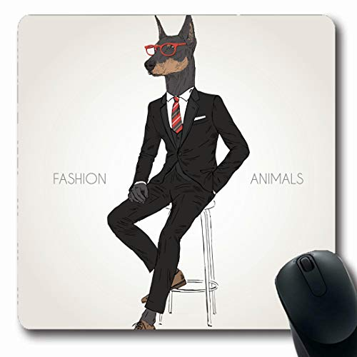 (Ahawoso Mousepads for Computers Sitting Hipster Doberman Pinscher Dog Dressed Black Suit Wildlife Cool Creative Office Design Tie Oblong Shape 7.9 x 9.5 Inches Non-Slip Oblong Gaming Mouse Pad)