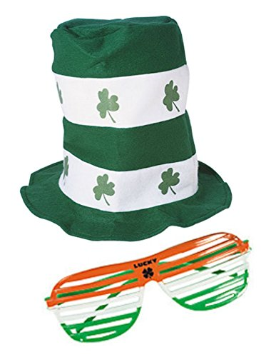 Nikki's Knick Knacks ST. Patrick's Day Stove Pipe Hat and Shutter - Glasses And Hats
