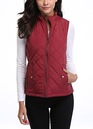 MISS MOLY Women's Zip up Stand Collar Lightweight Quilted Gilets Packable Padded Vest w 2 Side Zip Pockets S by MISS MOLY (Image #1)