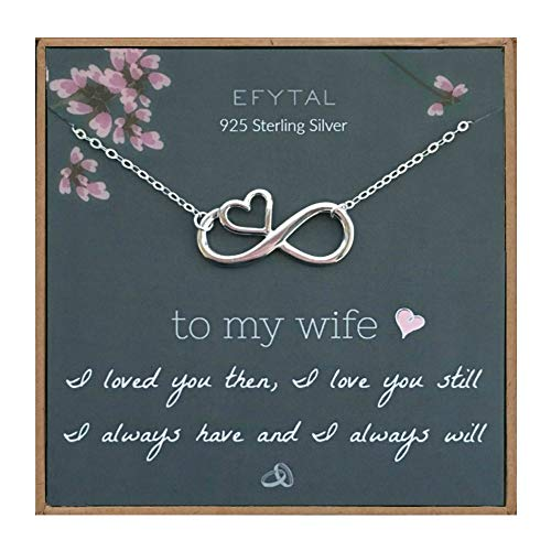 EFYTAL Wife Gifts, Wife Birthday Gift Ideas For Her, Romantic Sterling Silver Infinity with Heart Necklace Jewelry for Women, Cute Anniversary / Valentines Day Present