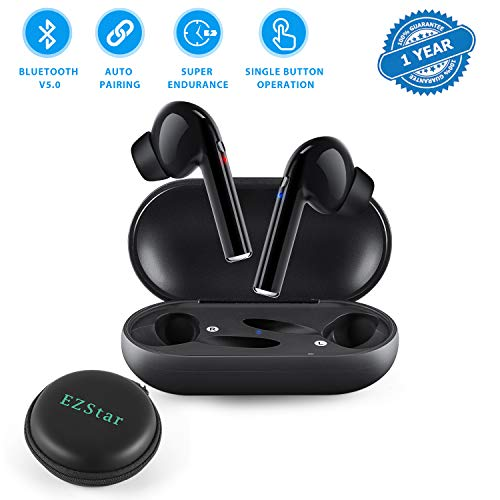 Bluetooth Headset Wireless Earbuds Bluetooth Headphone Bluetooth V5.0 Auto Pairing Mini Size HD Stereo in-Ear Noise Canceling Earphones with Mic Charger Case Compatible with Android iPhone (Black)